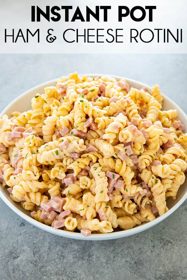 Ham & Cheese Instant Pot Pasta is so creamy, cheesy, and delicious! One of our favorite Instant Pot recipes for a quick family pleasing dinner! #instantpot #instantpotrecipes #easyinstantpotrecipes #rotini #instantpotpasta