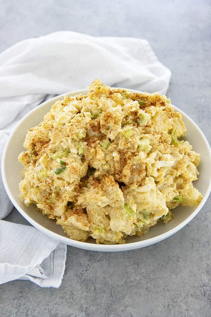 potato salad in a white bowl