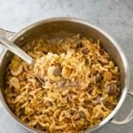 french onion beef and noodles in spoon