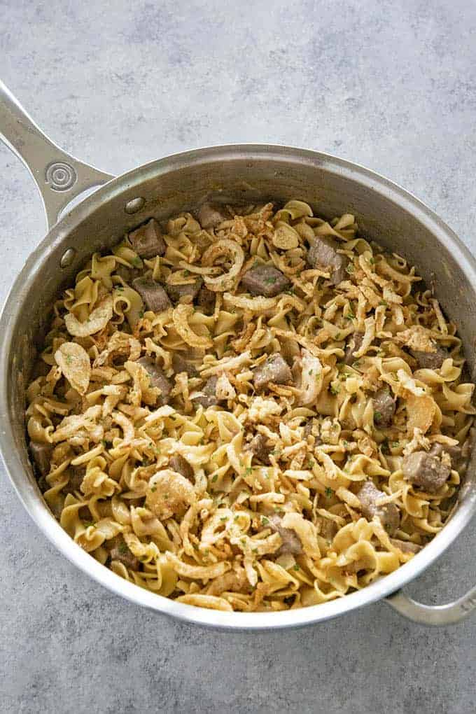 french onion beef and noodles in pan