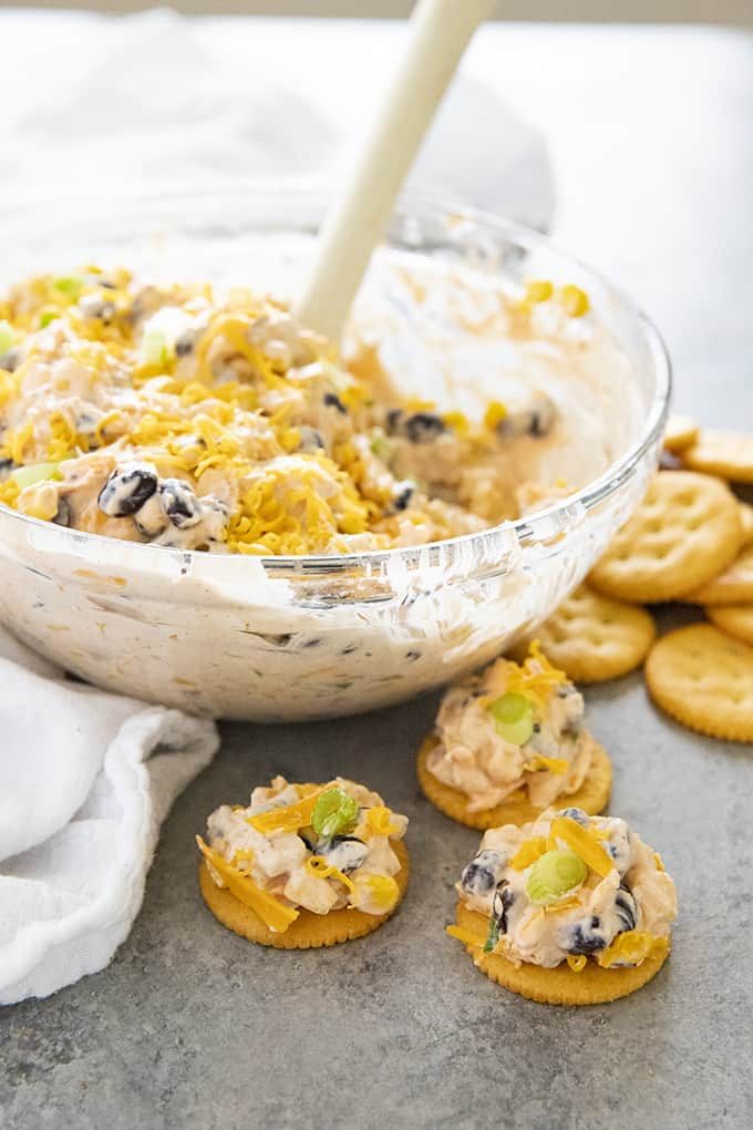 fiesta ranch cream cheese dip on crackers