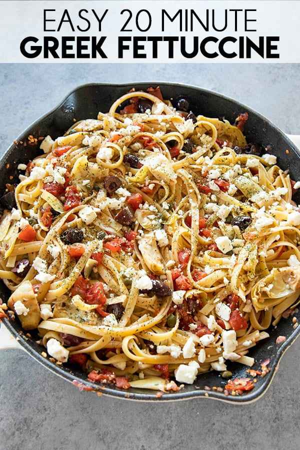 Easy Greek Fettuccine is a simple and flavor packed weeknight dinner recipe! This pasta is full of olives, artichokes, diced tomato, garlic, and plenty of feta cheese!