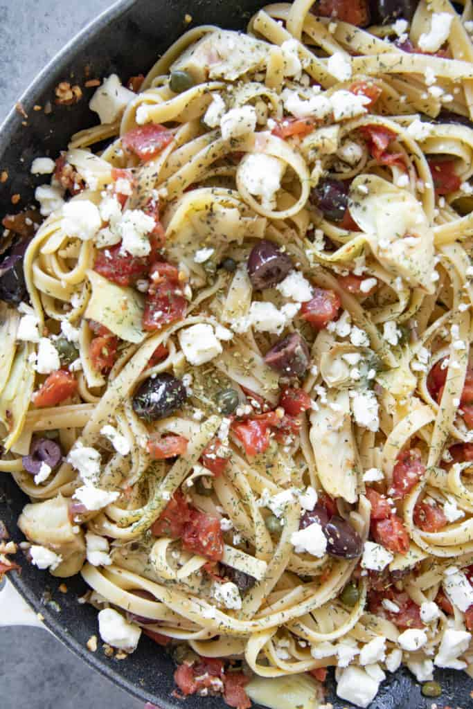 close up of greek fettuccine pasta in a skillet