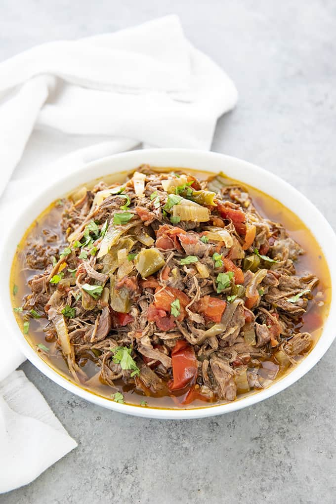 beef machaca in a bowl