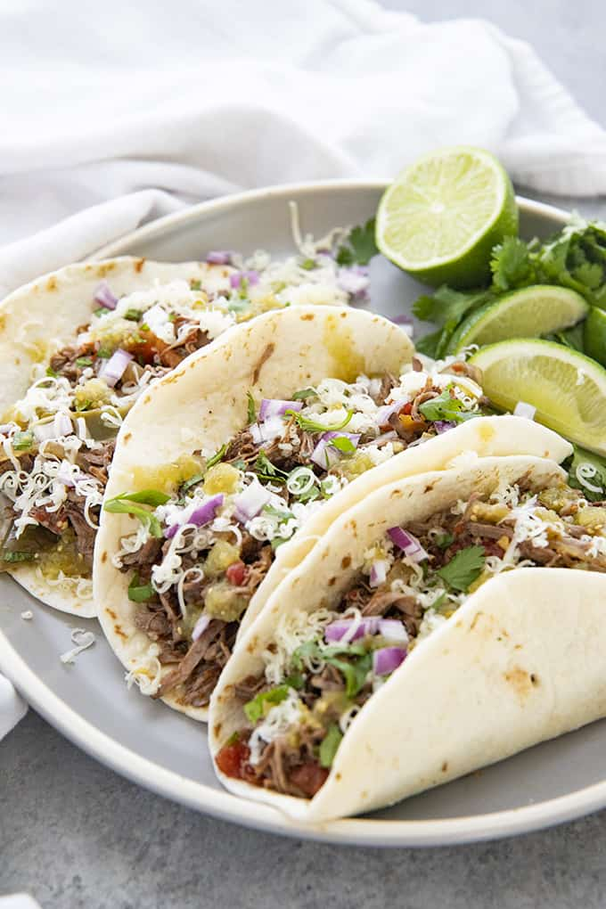 machaca tacos on plate