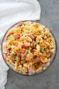 shrimp pasta salad in a bowl
