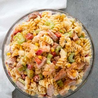 shrimp pasta salad in a bowl