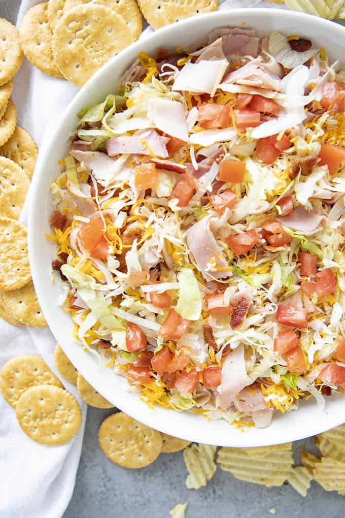 club sandwich dip in a bowl