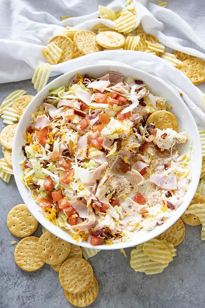 bowl of club sandwich dip with crackers