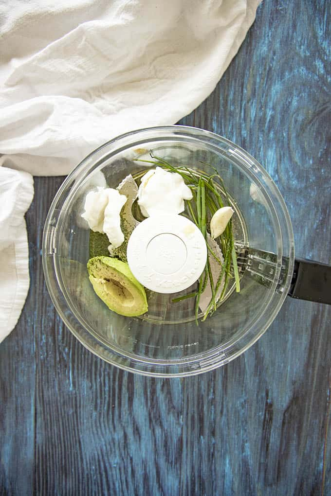 ingredients for avocado dressing in food processor
