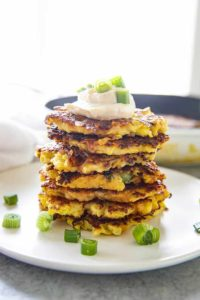 squash patties stacked on plate