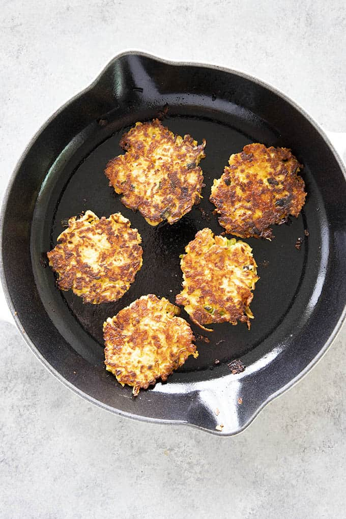 squash patties in skillet
