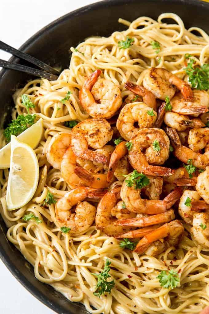 Easy cajun shrimp pasta made in a skillet