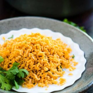 Spanish rice on a white plate
