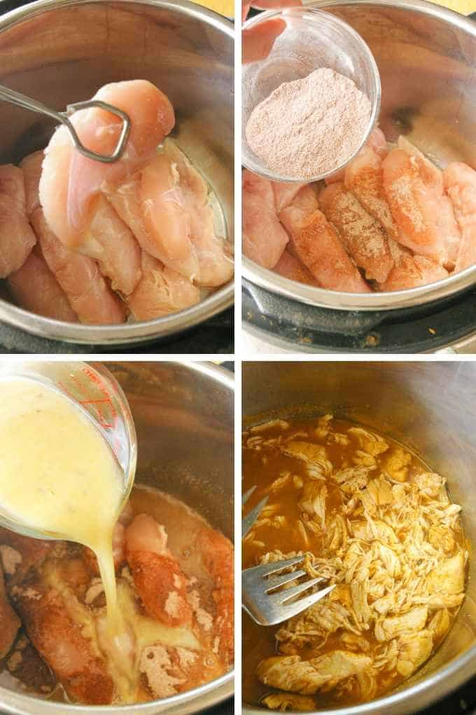 Instant Pot Taco chicken process steps collage.