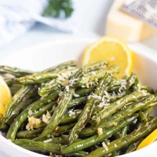 Roasted green beans in a bowl