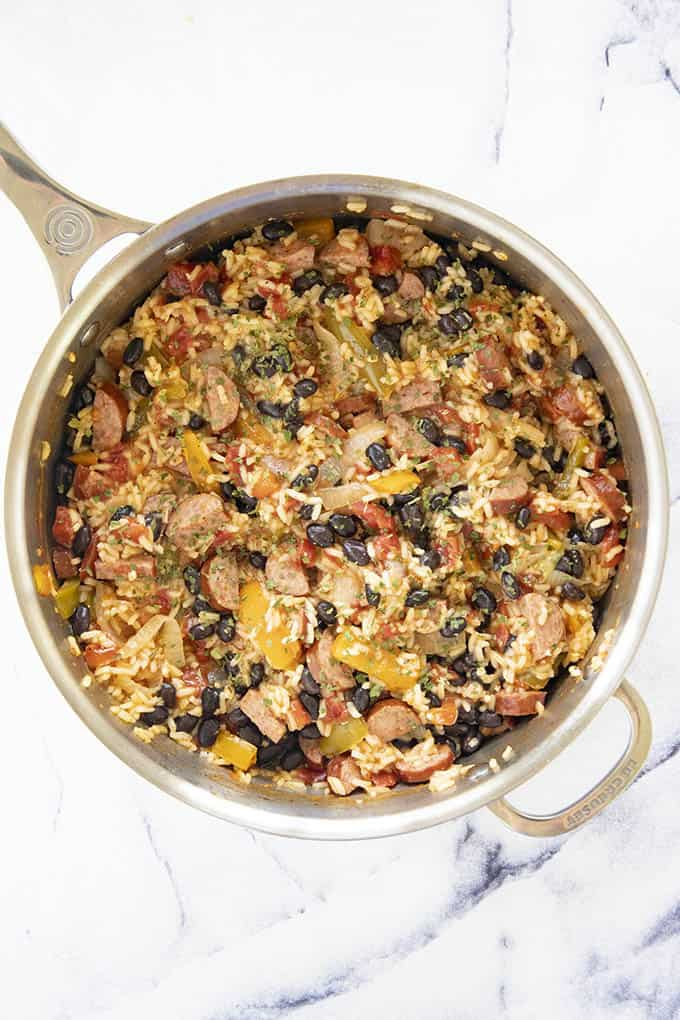 rice and beans in skillet
