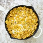 buffalo chicken tortellini in pan