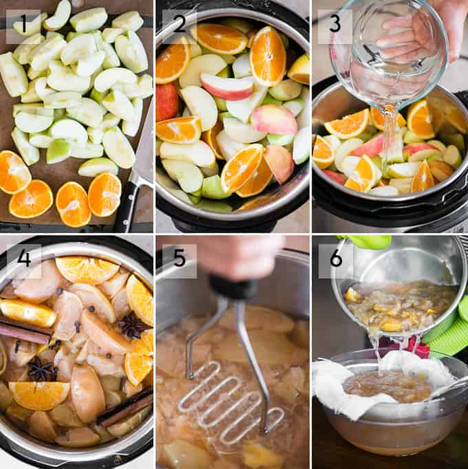 Step-by-step collage of homemade apple cider