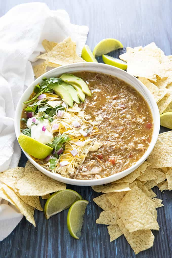 easy pork green chili instant pot recipe in a bowl