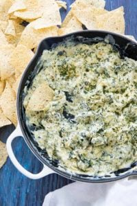 spinach artichoke dip in pan