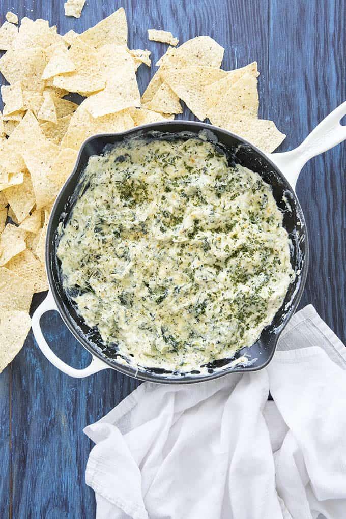 spinach artichoke dip recipe in a pan