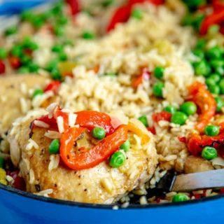 arroz con pollo in blue dutch oven