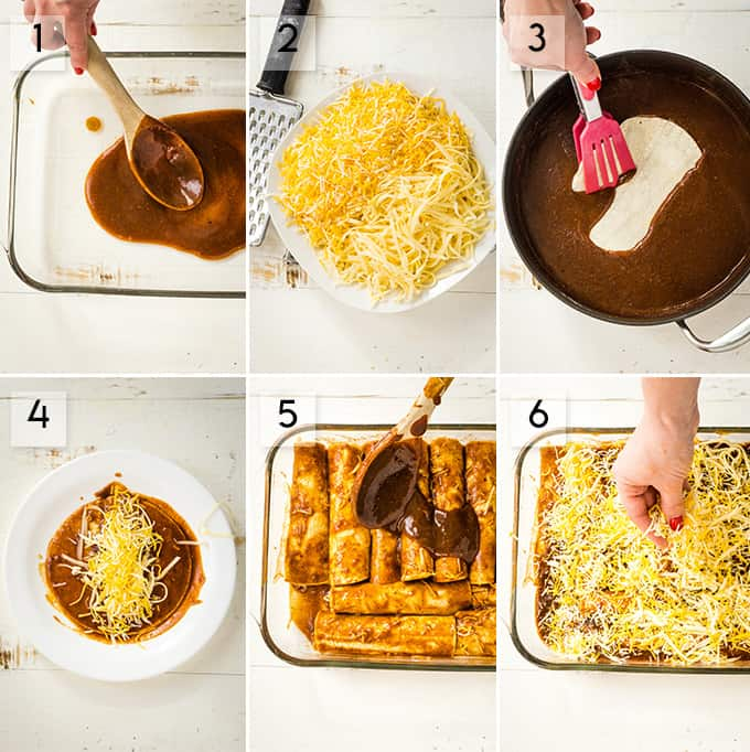 Photo collage of how to make cheese enchiladas