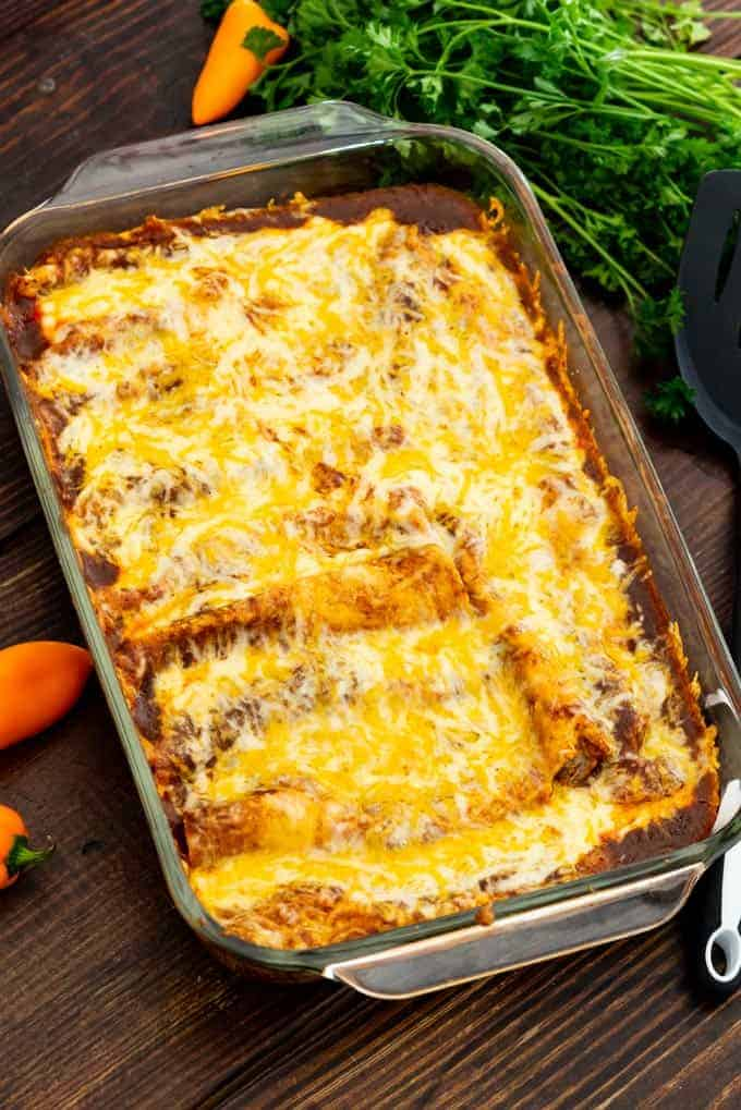 Cheese Enchiladas baked in a casserole dish