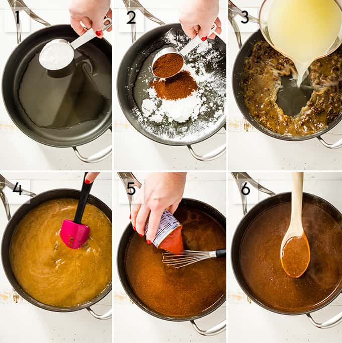 Photo collage of how to make homemade enchilada sauce