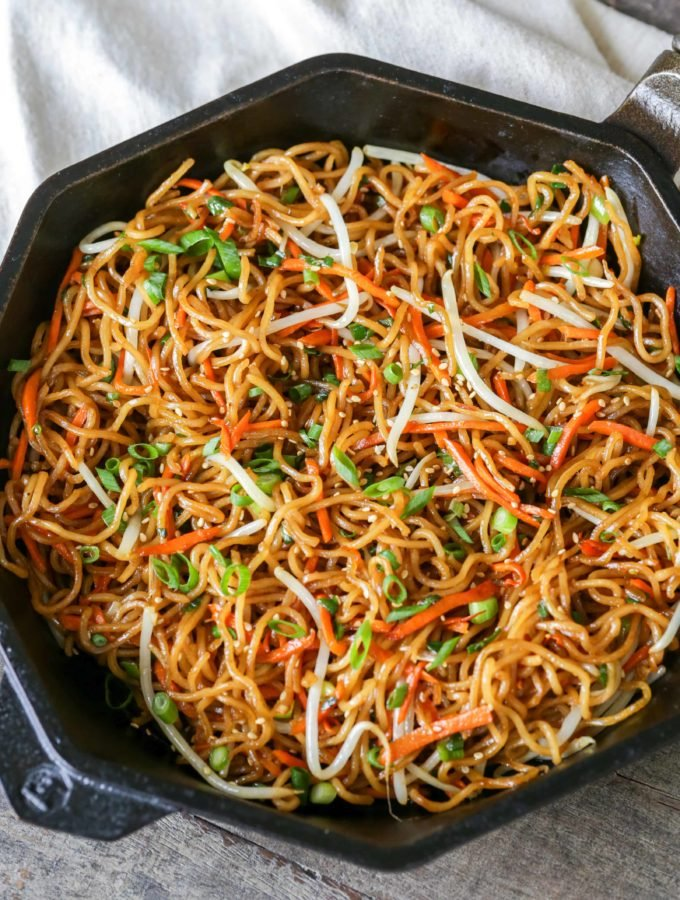 Pan Fried Noodles in a pan