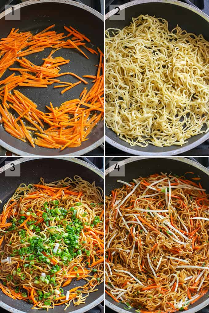 Step by step instructions to make pan fried noodles