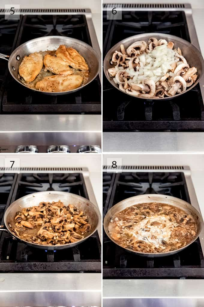 A collage showing the steps for how to make chicken marsala.