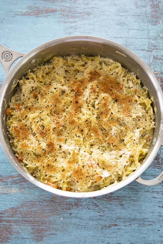 Chicken noodle casserole in pot
