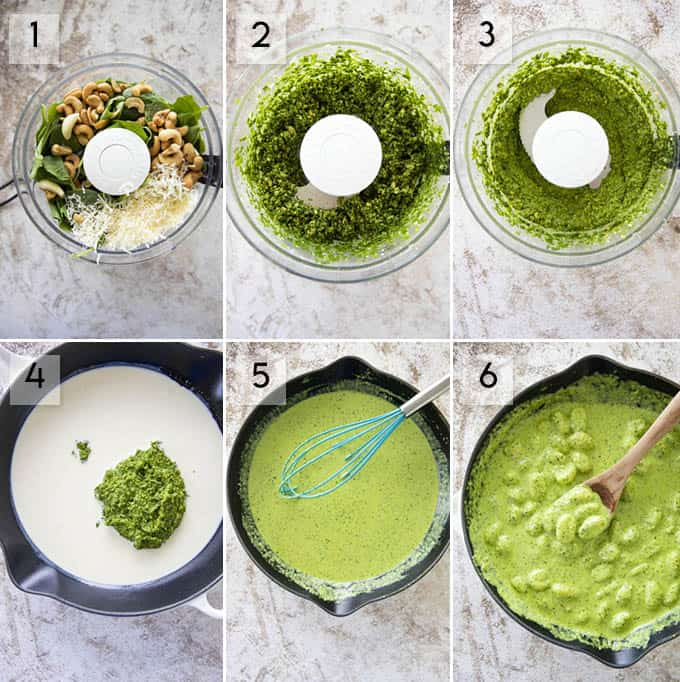 photo collage how to make gnocchi with creamy pesto