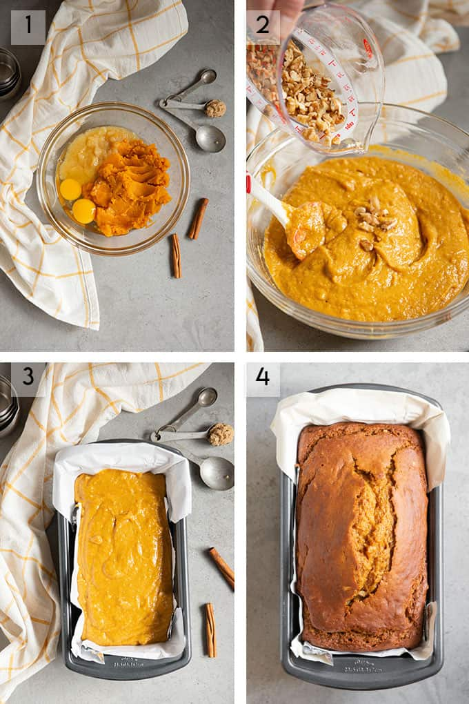 pumpkin bread process photos