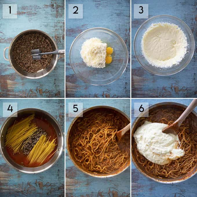 how to make one pan spaghetti pie