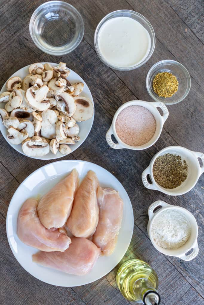 Ingredients for the instant pot chicken and mushroom