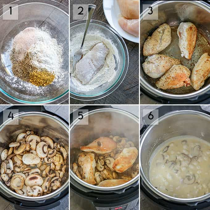 Step by step instructions on how to make instantpot chicken and mushroom