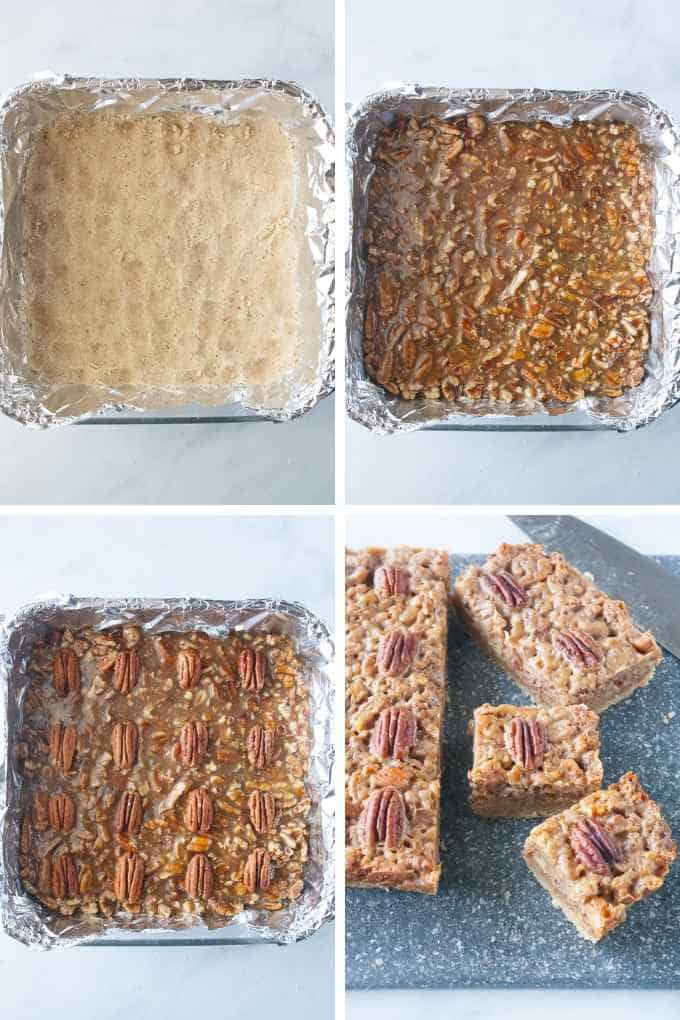 Steps collage for pecan pie bars.