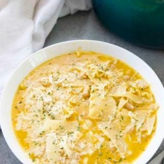 butternut squash soup lasagna style in a bowl