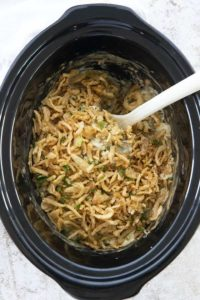 photo of green bean casserole made in slow cooker