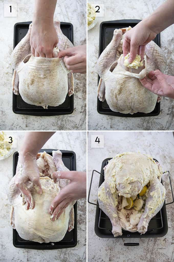 collage of photos how to roast turkey