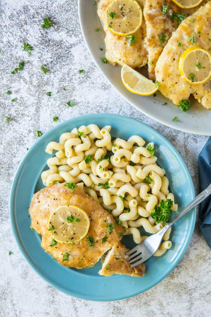 easy chicken francese dinner with pasta