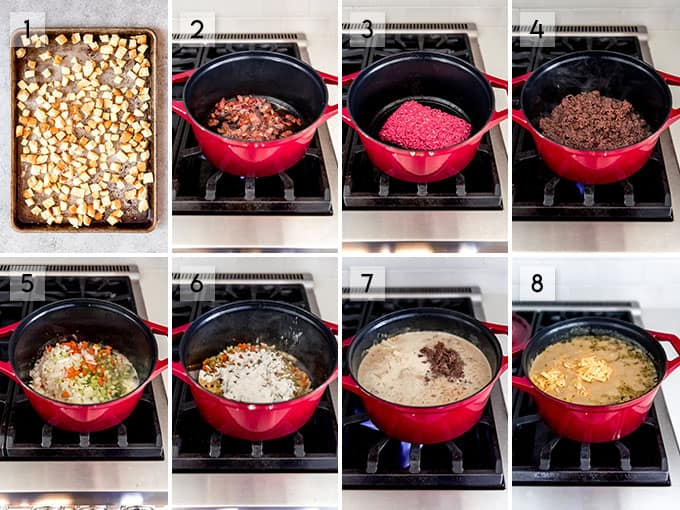 A collage of images showing the steps for how to make cheeseburger soup.