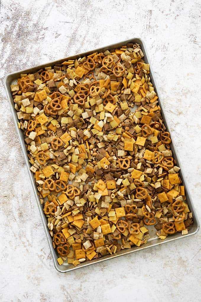 chex mix on baking sheet