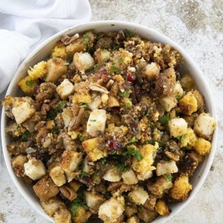 cornbread stuffing in bowl