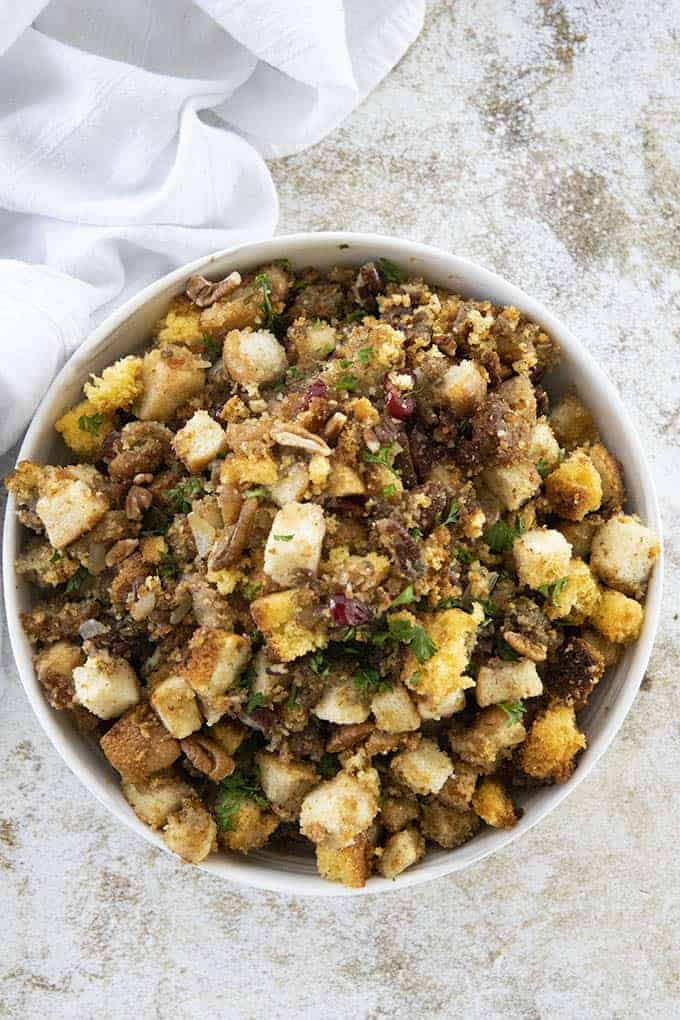 cornbread stuffing in bowl