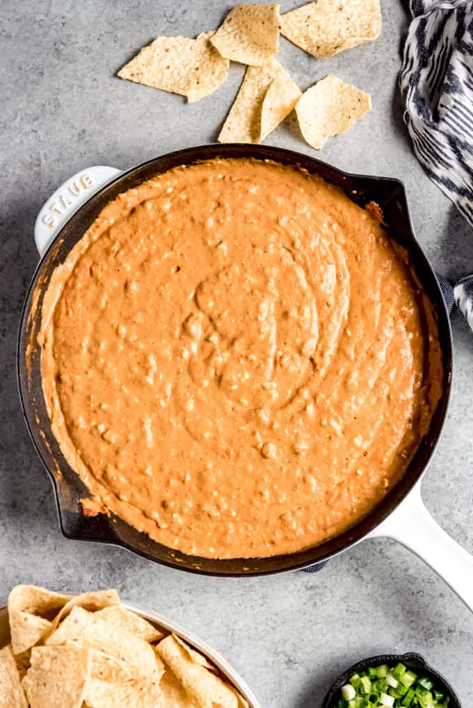An image of a skillet of homemade bean dip.