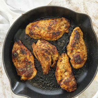 cajun chicken in skillet